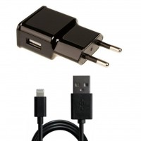 Зарядное устройство Grand-X 1*USB, 1A, Black, + cable USB -> Lightning, Cu, 2.1А, 1m